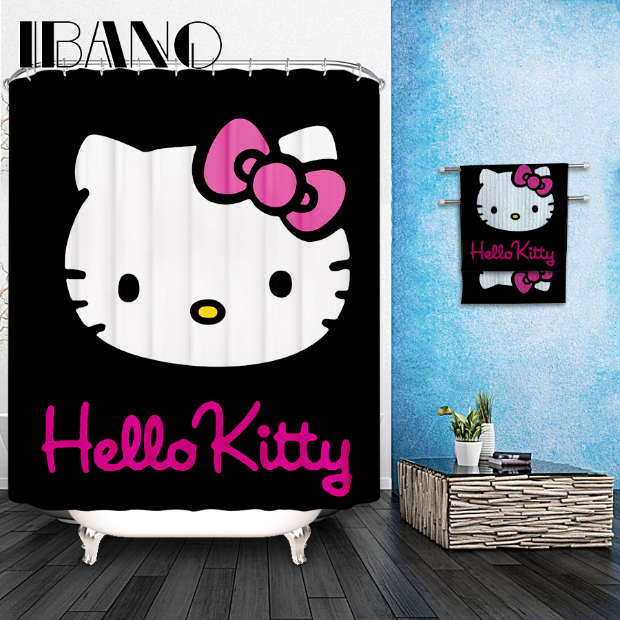 Hello Kitty Shower Curtain Pattern Customized Shower Curtain Waterproof Bathroom
