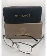 New VERSACE Eyeglasses 1232 1262 56-16 145 Brushed Gunmetal Rectangular ... - $299.98