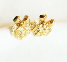 Avon Christmas package earrings small rhinestones gold tone - $3.91
