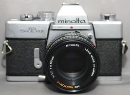 MINOLTA srT201 35mm VINTAGE SLR Film Camera MD ROKKOR-X f/1.7 50mm Lens ... - $99.00