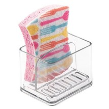 mDesign Scrubber, Soap and Sponge Holder for Kitchen Sink - Clear - $10.68