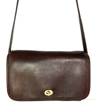 Coach Vintage Small Brown Leather Flap Shoulder Bag -Made in USA -Distre... - $48.49