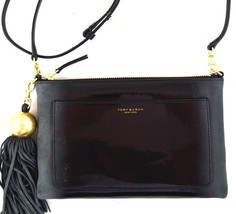 AUTHENTIC NWT TORY BURCH $298 LEATHER OMBRE PATENT TASSEL BLACK CROSSBOD... - $3.336,35 MXN