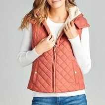 Dusty Pink Puffer Vest, Quilted Puffer Vest, Quilted Vest with Sherpa Edging