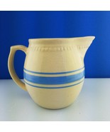 Weller Marked 1900's Blue Banded 3 Stripe Crock Pitcher Yellow Ware Vint... - $44.55