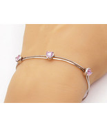 925 Sterling Silver - Pink Topaz Love Heart Multi-Strand Chain Bracelet ... - $25.98