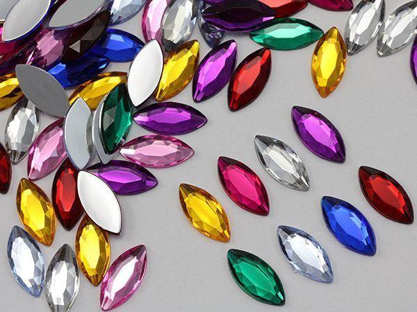 20x9mm Crystal Clear AB A01 Flat Back Navette Acrylic Gems  - 25 PCS