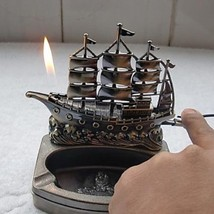 Metal Sailing Boat Model Cigarette Lighter and Ashtray 2-in-1: One Item
