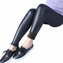 NEW BLACK LEATHER STRETCH WARM LINED LEGGINGS ELASTIC WAIST ANKLE LENGTH... - $4.94