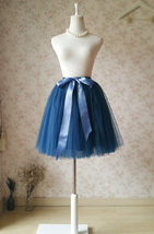 Navy Blue Knee Length Tutu Skirt Navy Flower Girl Tutu Skirts bow Plus Size