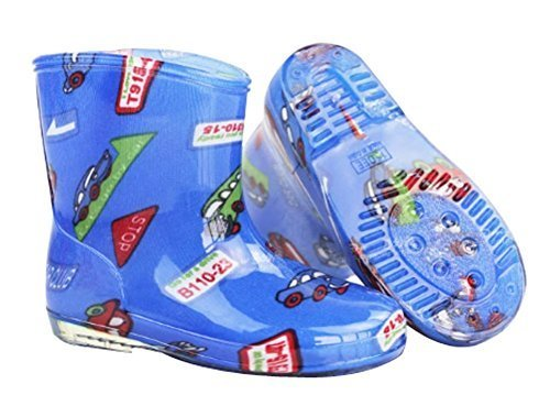 Cute Starry Kids' Rain Boots Blue Car Children Rainy Days Shoes 17CM