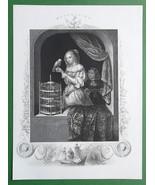 LOVELY MAIDEN Rich Noblewoman Bird & Cage - Antique Print w/ Ornamental ... - $12.15