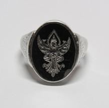 Vintage Antique Black Nielloware Enamel Siam STERLING SILVER Flip Ring Size 9.5 - $36.61