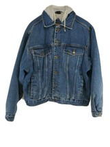 Canyon Guide Outfitters Knit Lined Denim Coat Mens Sz Large (hg) - $29.69