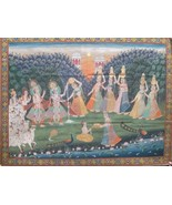 Hand painted raas devotional indian miniature pichwai painting tradition... - $420.28
