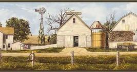Green Amish Farm Wallpaper Border Chesapeake Wallcovering HAH15152B - $16.99