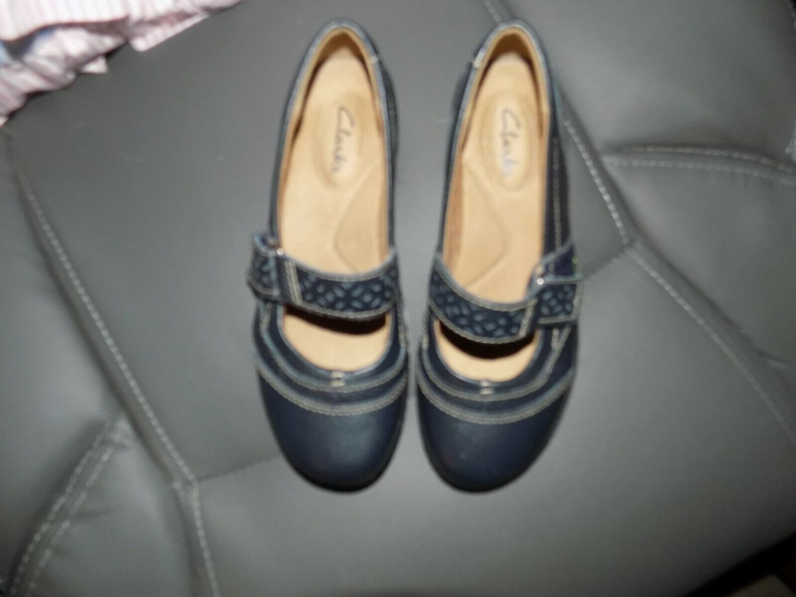 Primary image for Clarks Artisan Blue Leather Mary Janes Flats Shoes Size 5M Women's EUC