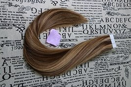 """20"""" Tape in Extensions Remy Human Hair Extensions Brazilian Remy Hair Glue in Re image 2"""