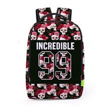 Creative personality 3d skull flower digital print school travel backpack - $26.00
