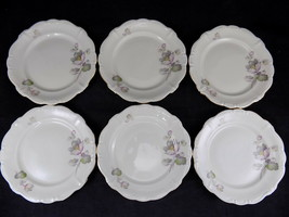"""6 ROSENTHAL POMPADOUR ROSE RIMMED 7"""" Bread Plate SELB GERMANY US ZONE - $59.39"""