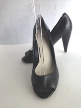 NINE WEST PEEP OPEN TOE SHOE WOMEN'S 8.5M BLACK CLASSIC PUMPS HEELS CAREER - $11.61