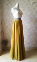 Yellow Rust Maxi Chiffon Skirt Outfit Floor Length Bridesmaid Chiffon Skirt image 6