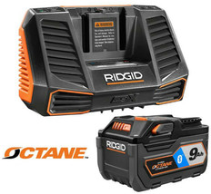 RIDGID Power Tool Battery Charger Kit 9.0 Ah 18-Volt Lithium-Ion Cordless - $166.95
