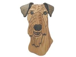 Airedale/lakeland Terrier-intarsia Wood Carving  - $110.99