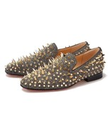 Merlutti Gold Rhinestones Rivets Sparkly prom wedding Loafers - $199.99