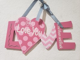 "Valentines Day Pink Glitter LOVE YOU Hanging Sign Decor Decoration 12.5"" - $15.99"