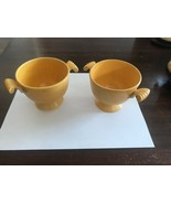 VINTAGE 40's Pair Of HLC Fiesta Ware Yellow Sugar Bowls No Lid 1 Repaire... - $40.00