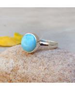 Natural Larimar Ring, Sterling Silver Larimar Ring, Dominican Republic G... - $46.55