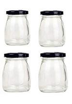 Motishi 3oz Glass Jars with Black Lids for Jam Honey Jelly Wedding Favor... - $15.24