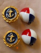 2 Pair 1960s Clamp Back Earrings Nautical Anchors & Patriotic Red White ... - $20.00
