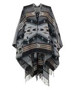 7 Seas Republic Women's Grey Tribal Fringe Ruana Wrap - $26.99
