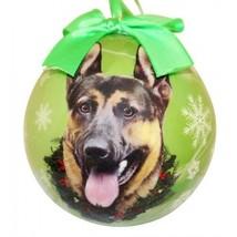 German Shepherd Christmas Ornament Green Shatter Proof Ball Dog Snowflak... - $9.89