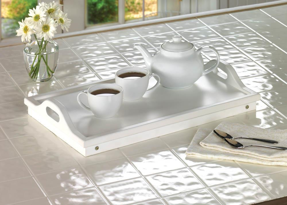 2 WHITE FOLDING SERVING TRAYS Portable Breakfast in Bed Table