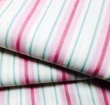 Striped Fabric Pink Green Cream by Joan Kessler for Concord Fabrics  - $3.99