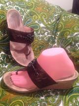 Ugg Briella 9M Women's Brown Cork Wedge Sandals Thong Toe Comfort Footbed - $19.62