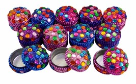 A Set Of 12Pcs Mirror Work Beaded Multi Jewelry Boxes 1.3 Inches Width - £18.41 GBP