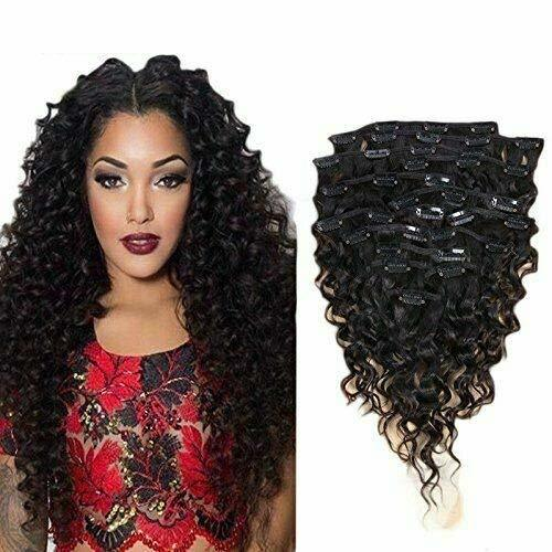 Curly Clip In Human Hair Extension Brazilian Remy Hair Clips In Thick Soft 8A Re - $78.21