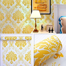 Damask Gold Luxury Wallpaper Adhesive Shelf PVC Peel Stick Countertop Dr... - $18.18