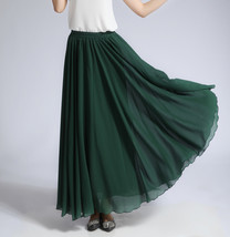 Women MAXI Chiffon Skirt DARK GREEN Silky Chiffon Maxi Skirt Beach Wedding Skirt image 2