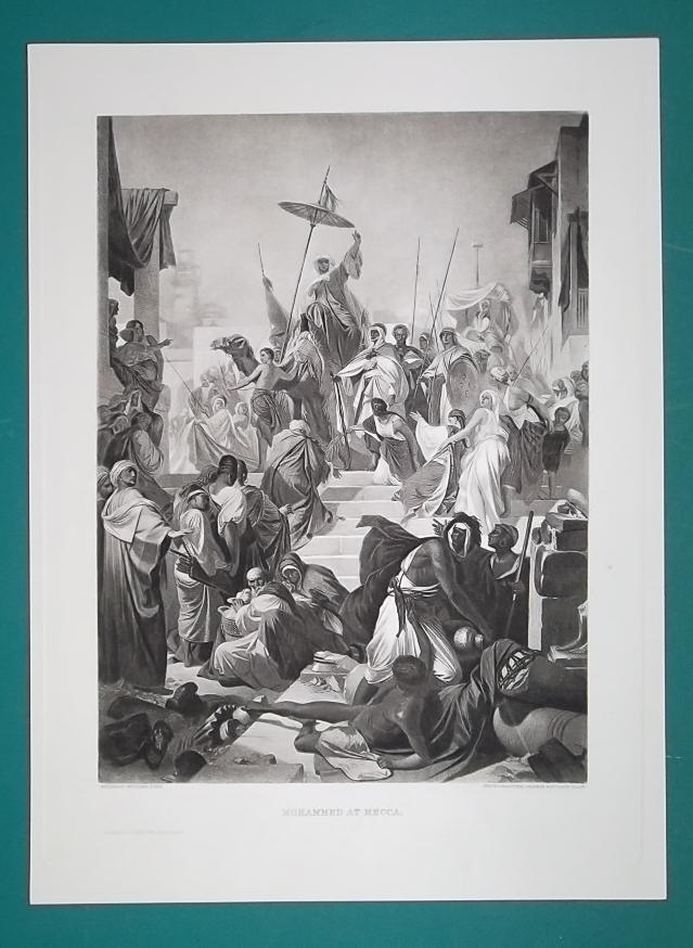 MOHAMMED Arrives at Mecca - 1888 Antique Print