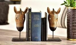 "10"" Zebra Head on Base Design Bookends Poly Resin Set of 2"
