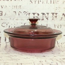 Vintage Pyrex cranberry visionware corning casserole dish with lid V-30-... - $16.30