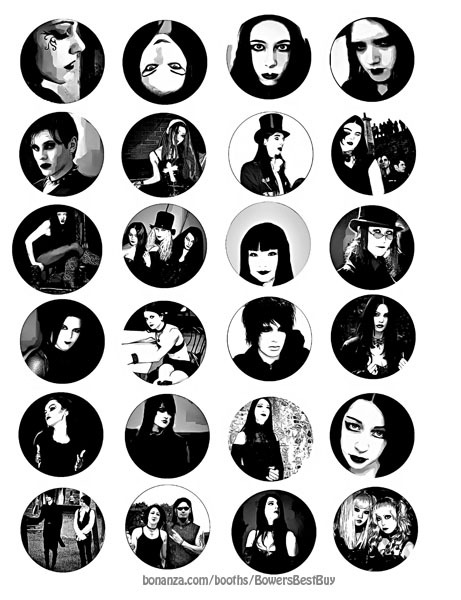 """goth people culture collage sheet 1.5"""" circles abstract clipart digital download"""