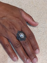 Vintage Judith & Jack Sterling Silver, Marcasite and Faux Pearl Ring - $74.95