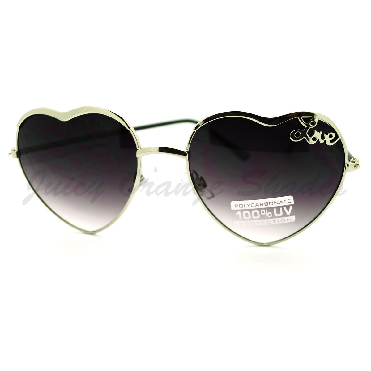 Love Heart Shape Sunglasses Womens Fashion Shades Thin Metal Frame