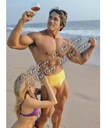 Bodybuilder Arnold Schwarzenegger Young Sexy Ripped Bulge Pose Girl Beach 4x6 Rp - $6.25